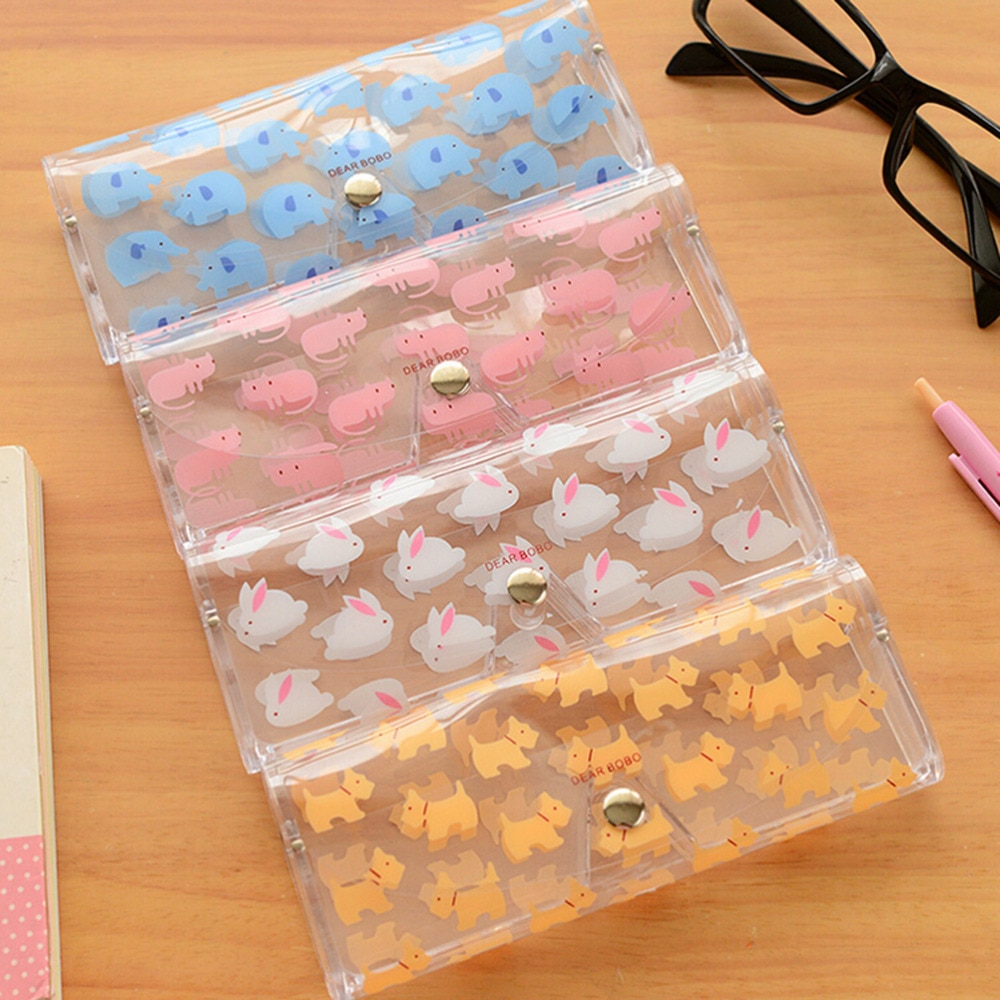 Cajas para gafas portátiles 1 Uds animales dibujos animados Kawaii caja de gafas de PVC Linda funda transparente para gafas de niña