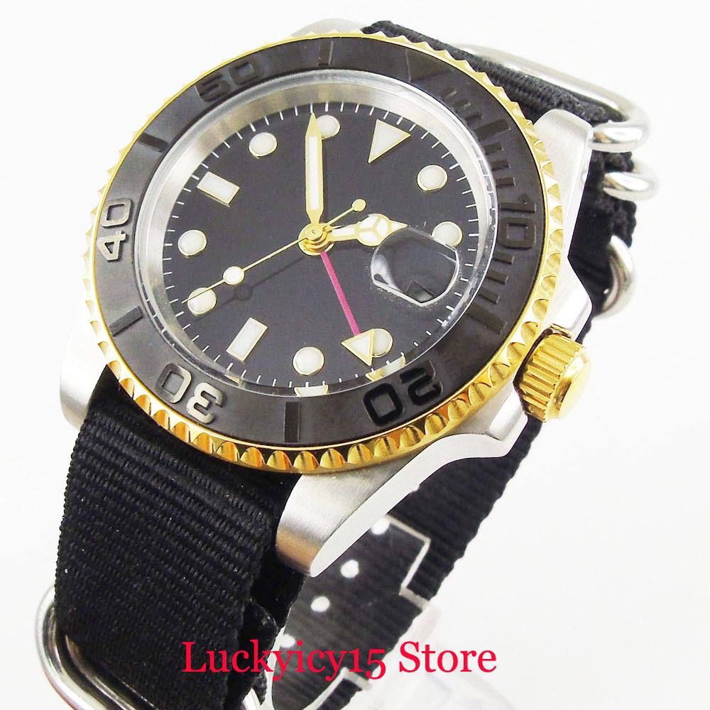Reloj Mecánico Nologo para hombre, cristal de zafiro, bisel de cerámica cepillado, movimiento automático, correa de nailon, reloj de pulsera de 40mm