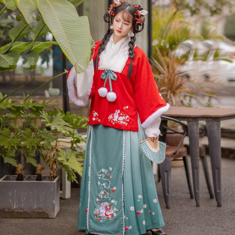 Hanfu-ملابس شتوية صينية تقليدية للنساء ، أزياء دافئة محسنة ، ملابس مسرح رقص كلاسيكية DQL5074