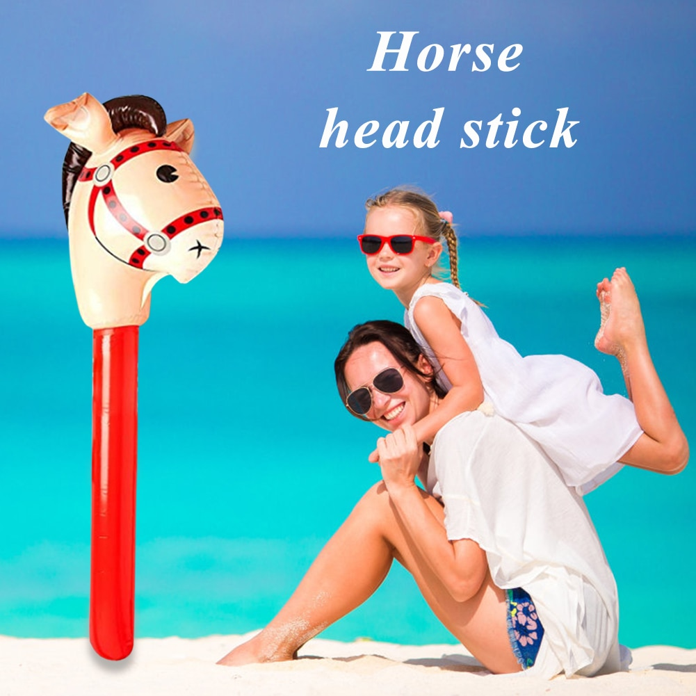 Classic Children Kids Outdoor Riding Game Plaything Horsehead Stick Multi-functional Practical Inflatable Horse Toy