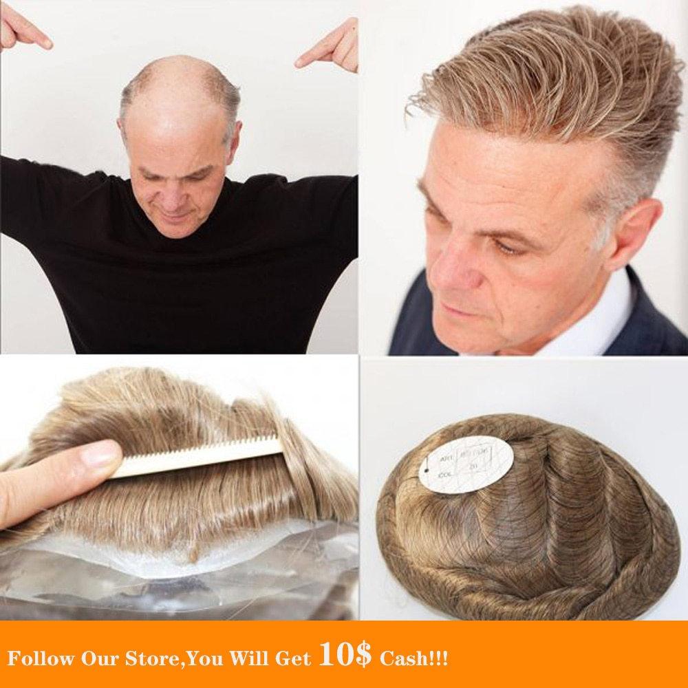 BYMC 6x8 Skin PU For Mens Malaysia Hair Honey Blonde Human Hair Toupee for Men Replacement SystemToupee 6 Inch Style