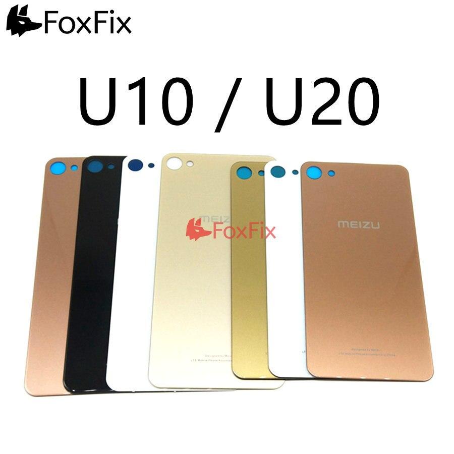 Para MEIZU U10 cubierta de batería de cristal trasero U20 carcasa de puerta trasera para Meizu U10 cubierta de cristal trasera negro/blanco/oro/rosa