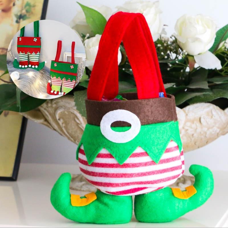 1 Uds. Bolsa de regalo de fiesta con decoración navideña hombre de nieve elfo bolsa de caramelos Navidad calcetines decoración para el Hogar santa sacos