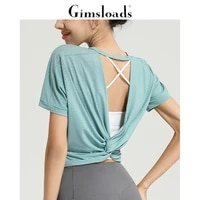 gimsloads womens yoga pilates sports t shirt hollow tops loose size short sleeve for females training dancing fitness gym smock