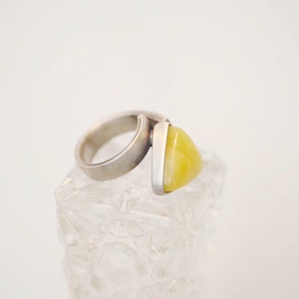 Ámbar Natural Beeswax 925 anillo de plata triangular joyería restaurar maneras antiguas estilo anillo pasable ajustable anillo de las mujeres