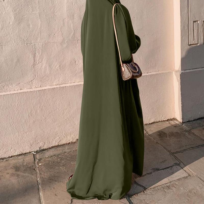 ملابس نسائية مصلاة للمسلمين عباءة بقلنسوة قطعة واحدة ملابس إسلامية سادة بأكمام طويلة كيمار دبي السعودية تركيا إندونيسيا