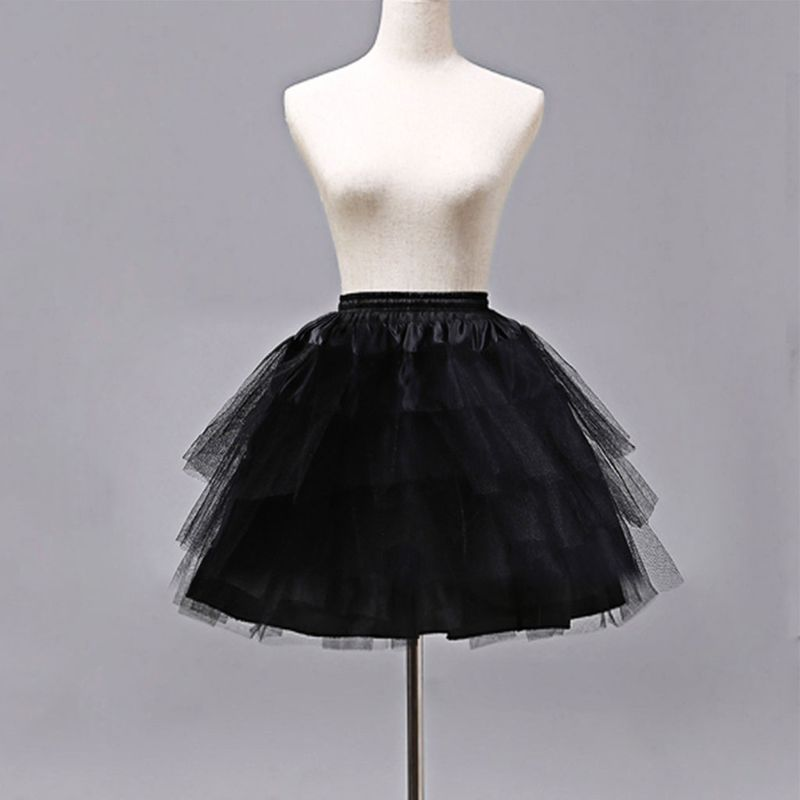 Cosplay dama ropa Lolita Vestido corto sin enagua de aros Ballet niñas hilo de malla falda enaguas E15E