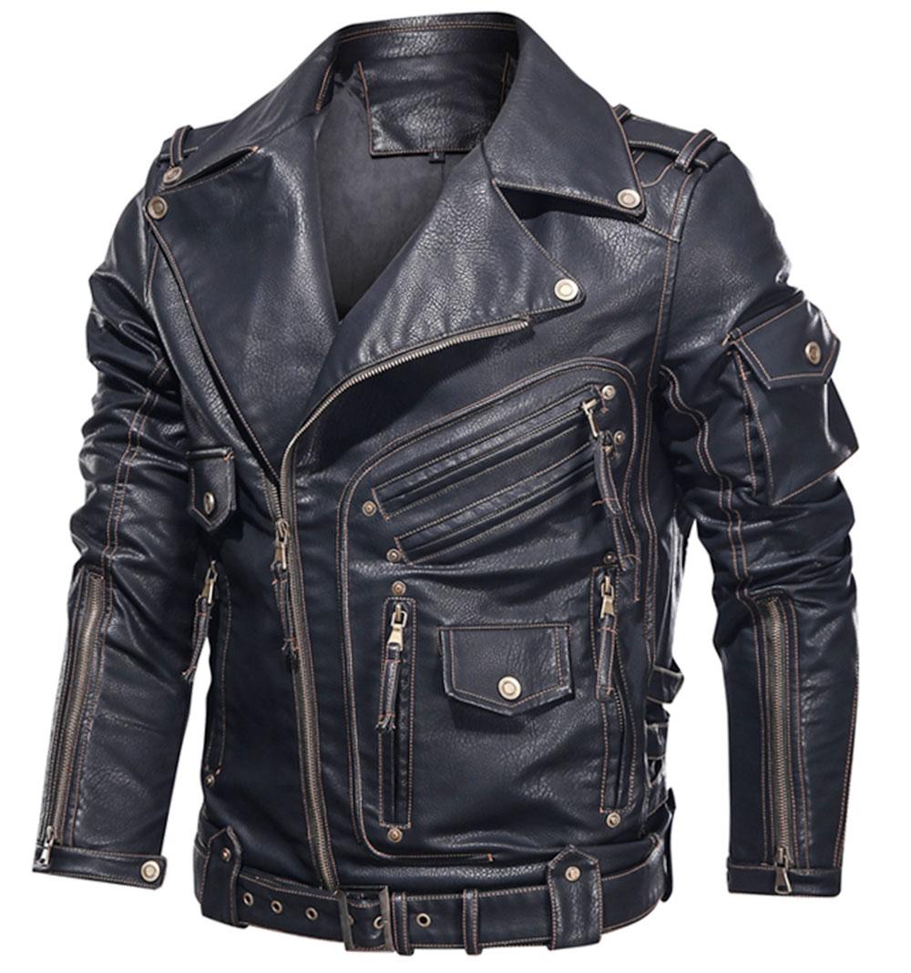 رجل الشتاء سترة جلدية للدراجات النارية بولي Leather سترة جلدية الرجال كول زيبر متعدد جيب الجلود دراجة chaiyas Hombre معاطف
