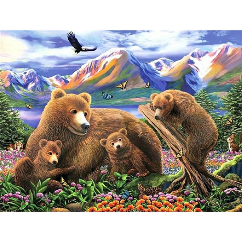 Decoración del hogar de punto de cruz taladro redondo completo diamante imagen Animal regalo Bordado hecho a mano pintura oso marrón calcomanía familiar para pared