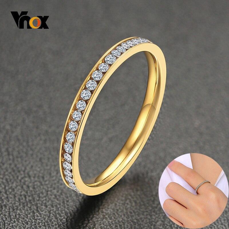 Anillo de pedrería CZ brillante Vnox de 2mm para mujer, anillo dorado de acero inoxidable brillante, joyería elegante