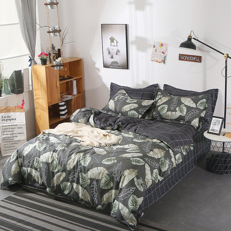 Juego de cama de 5 tamaños, juego de cama de hoja verde, juego de edredón, Sábana coreana, edredón, funda de almohada, juego de ropa de cama rosa