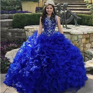 Tiered Cascading Ruffles Royal Blue Quinceanera Dresses Jewel Neck Crystal Organza Sweet 16 Dress with Free Fee Crown Vestidos