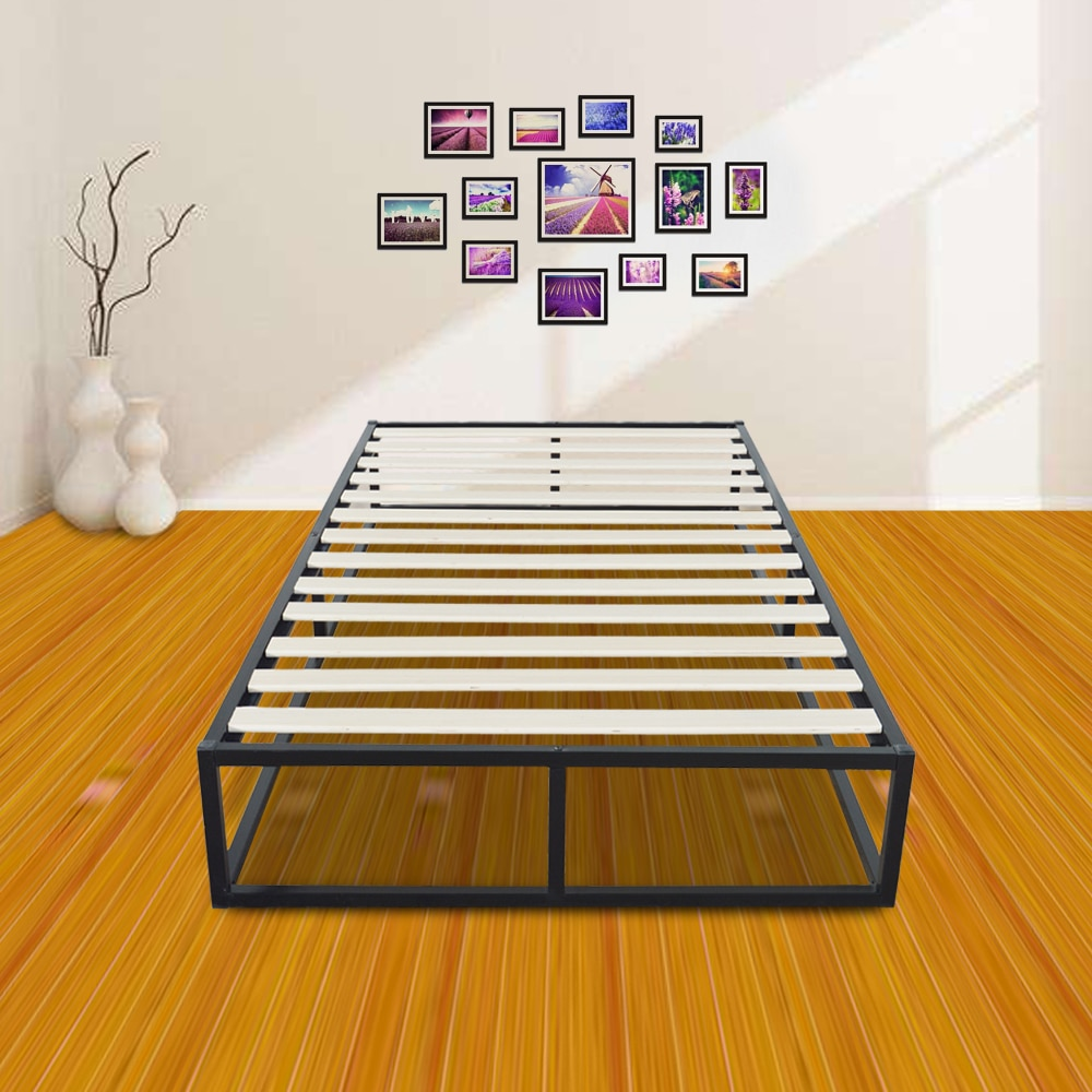 Black Simple Basic Iron Bed Twin Size Horizontal Bar Head of Bed Metal Platform Bed Frame Full Size Bedroom Furniture 150kg