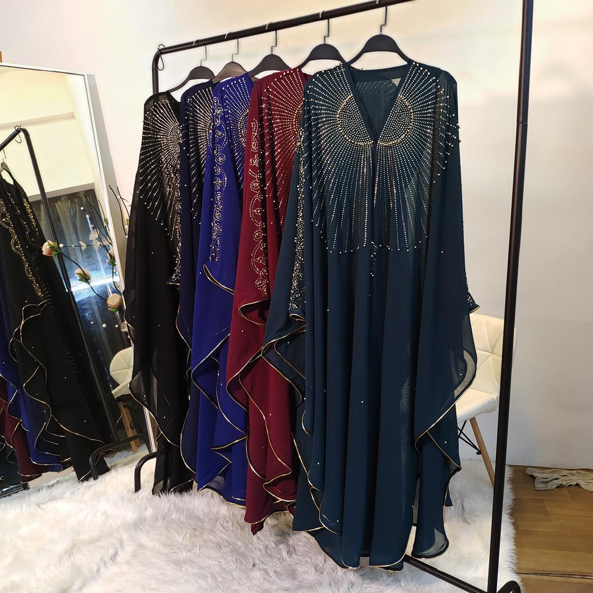 Ropa de oración musulmana Ramadán para mujeres Iftar Abayas manga de murciélago con cuentas con capucha Dubai Turquía oración larga ropa islámica hiyab vestido