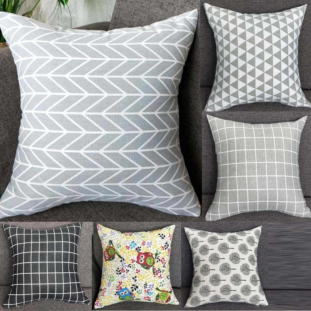 2019 funda de almohada Simple de impresión de moda fundas de algodón de poliéster cojín de color café para sofá funda de sofá decorativo para el hogar 40x40
