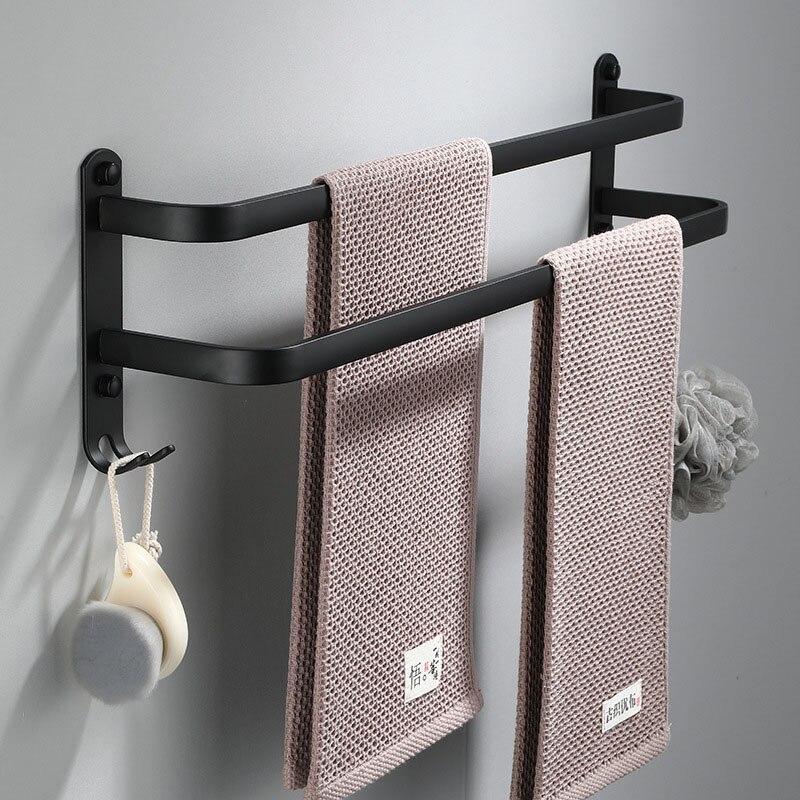 Towel Rack Bathroom Kitchen Wall Mounted Towels Hanger Space Aluminum Black Holder Storage Shelves Accessories