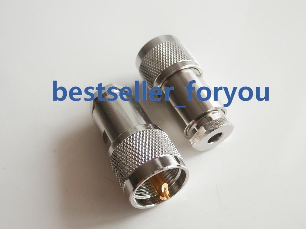1X UHF pinza PL259 macho para LMR195 RG58 RG400 RG142 Cable RF...