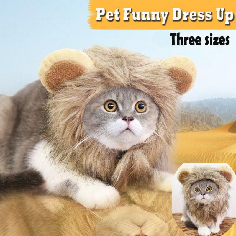Creativo lindo sombrero para mascotas disfraz Peluca de Melena De León sombrero para perro gato lindo divertido cachorro perro gato vestido para invierno cálido gorras decoración de fiesta