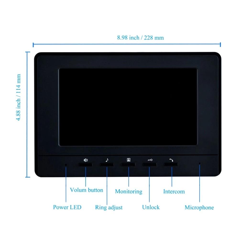 7'' Color Video Intercom RFID Card Camera Video Doorbell with 2 / 3 / 4 Monitors Video Door Phone 500 user for multi Apartments enlarge