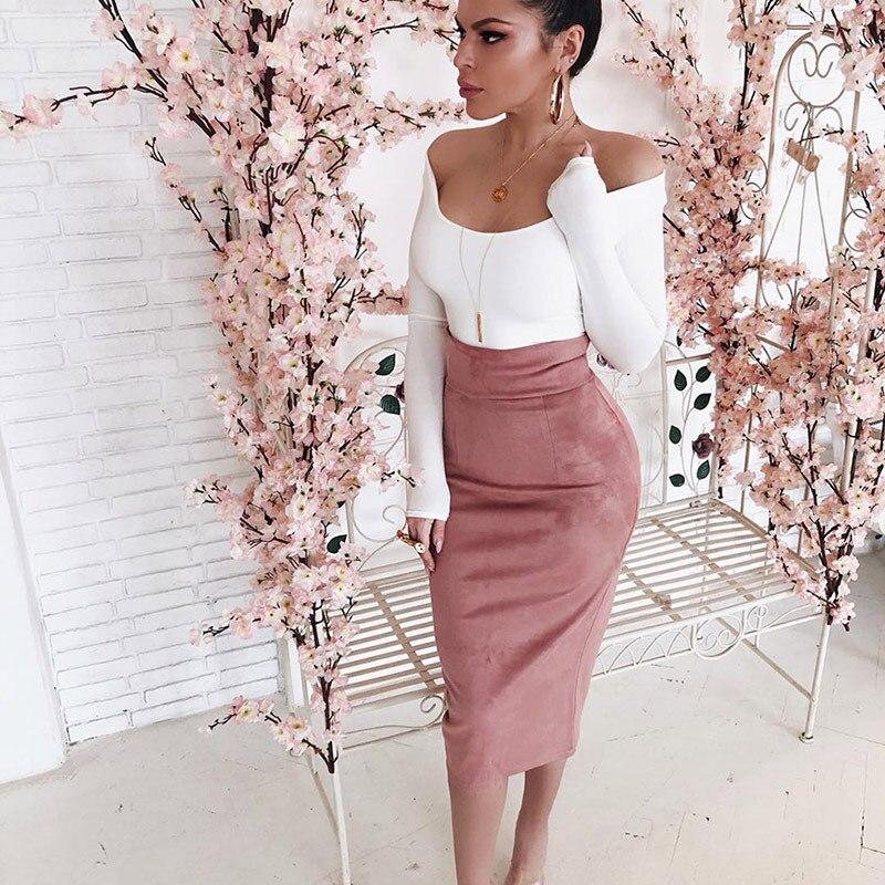Las mujeres elegantes de alta cintura falda Oficina Slim tubo Fiesta Club casuales hendidura Falda Midi