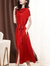 Nerazzurri long real silk dress women natural silk 2020 black red summer midi dress short sleeve plus size fitted dresses sashes