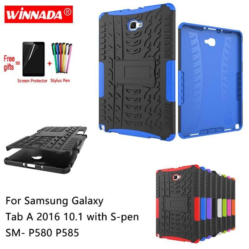 Für Samsung GALAXY Tab EINE A6 10,1 2016 mit S-Pen fall P580 P585 10,1 zoll Tablet Silikon TPU + PC Stoßfest Stehen Abdeckung + stift + Film