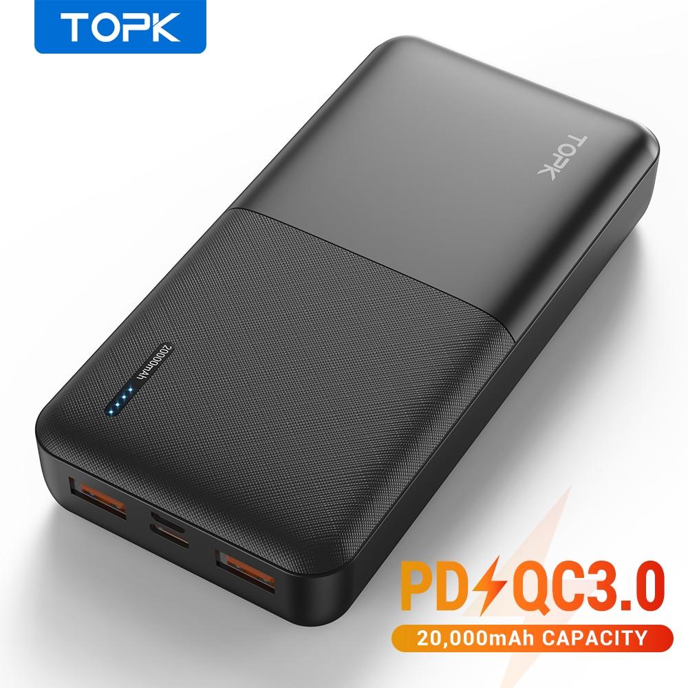 باور بانك من TOPK بسعة 20000 مللي أمبير في الساعة محمول شاحن USB من النوع C PD 3.0 شحن سريع 3.0 شحن سريع بطارية خارجية باور بانك لهاتف شاومي