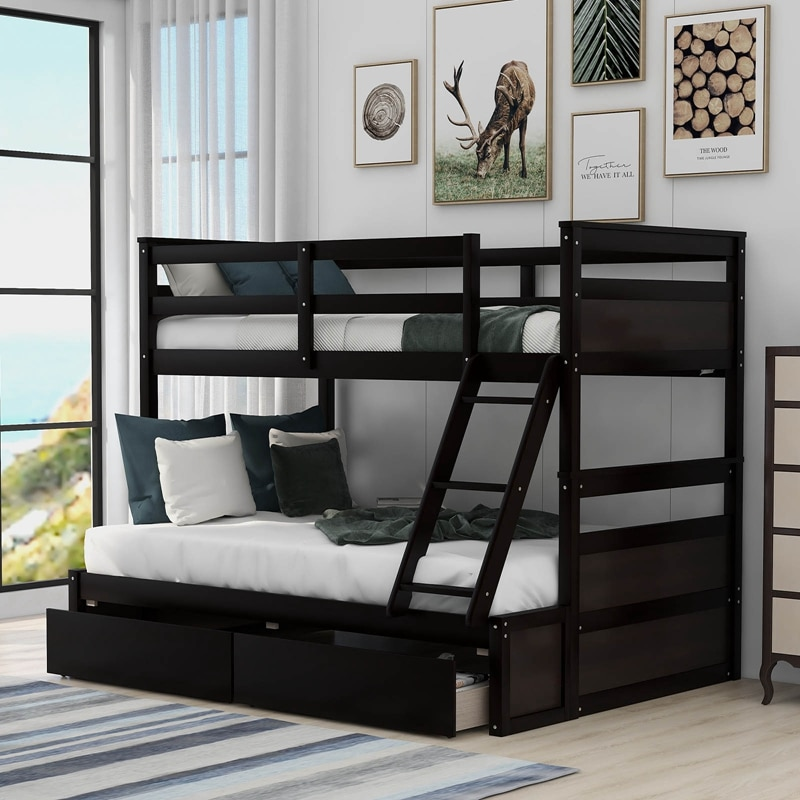 White Solid Pine Wooden Twin Loft Full Bunk Bed Strong Sturdy Frame for Adults Kids Safe Sleeping Beds with Slats