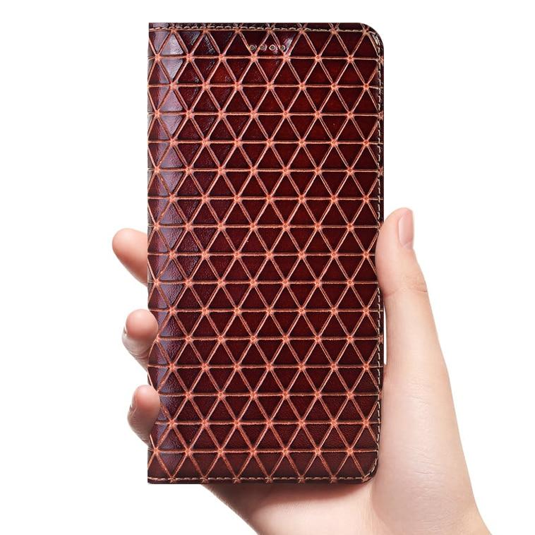 Grid Genuine Leather Case For Xiaomi Redmi Note 2 3 4 4X 5 6 7 8 8T K20 K30 10X 5G Pro S2 Go Plus Cell Phone Cover Cases