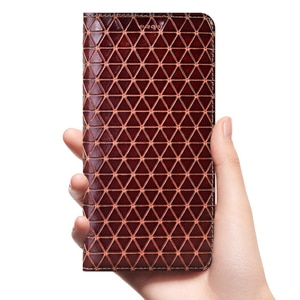 Grid Genuine Leather Flip Case For OPPO Realme X XT X2 X3 K5 1 2 3 3i 5 5i 6 6i C1 C2 C3 C11 Q X50 X50m Pro Cover Cases