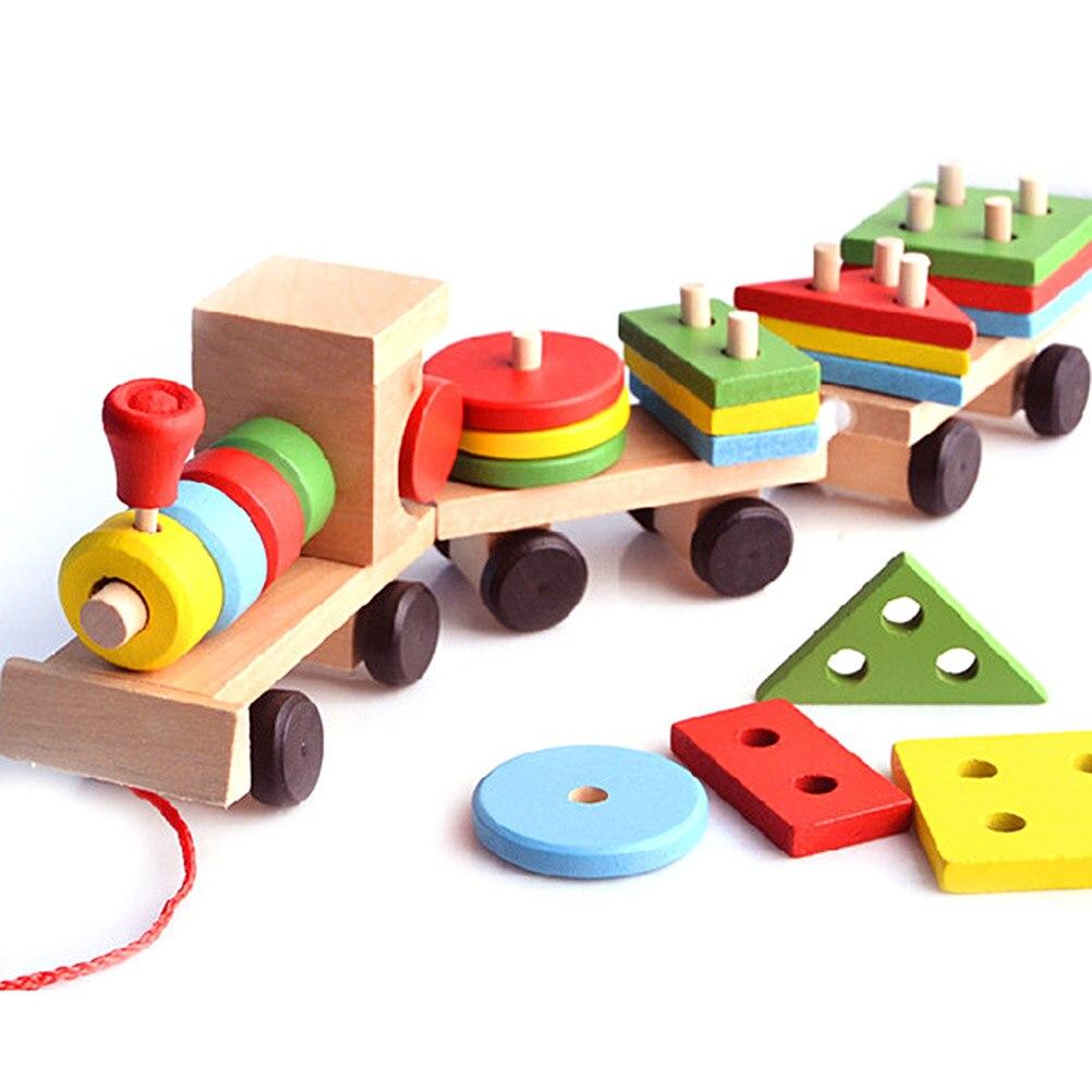 Juguetes de apilamiento de madera clasificador de formas de tren bloques de apilamiento de Niños Pequeños Juguetes de rompecabezas tirar juguetes para niños juguete educativo preescolar #20