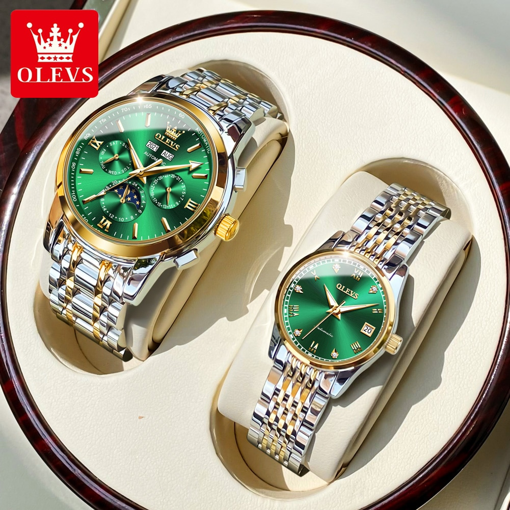 OLEVS Amante Relogios Lover Watches Men Women Automatic Mechanical Paired Watches For Couple Watch G