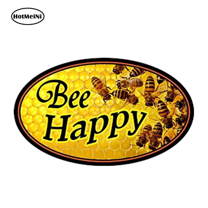 HotMeiNi 13cm x 7,5 cm coche estilo abeja pegatina feliz coche apicultura Skep panal parachoques ventanas Accesorios