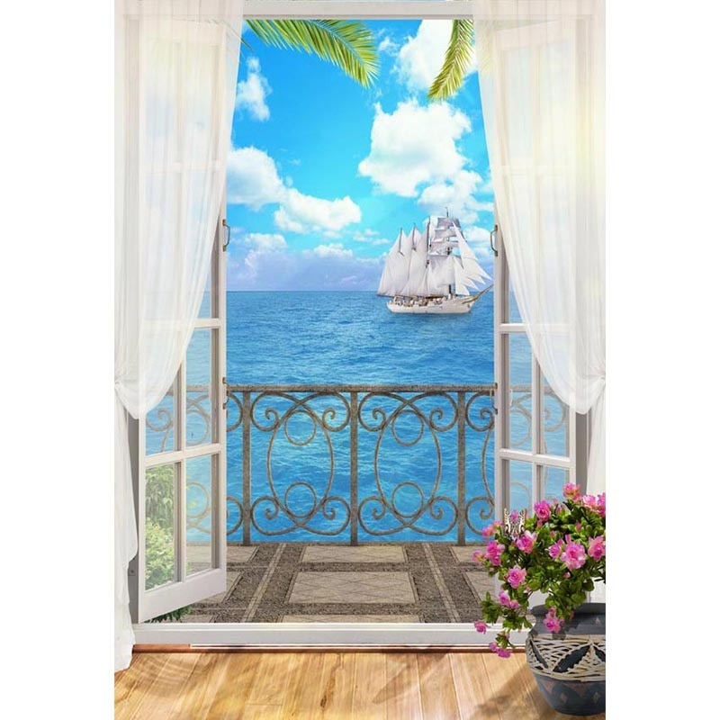 DAWNKNOW Seawater Vinyl Photography Background For Window Sailing New Fabric Polyester Backdrop For Family Photo Studio G617 enlarge