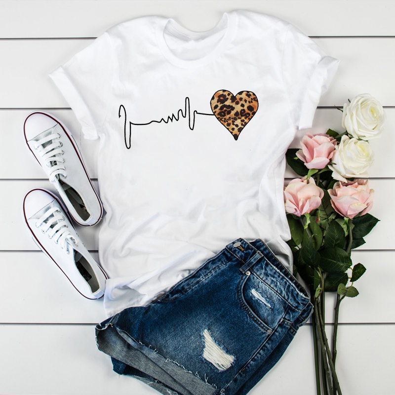 Летняя Новинка 90 Женская леопардовая футболка с коротким рукавом и принтом «сердцебиение» Женская Футболка Harajuku графическая одежда женские топы в стиле ретро
