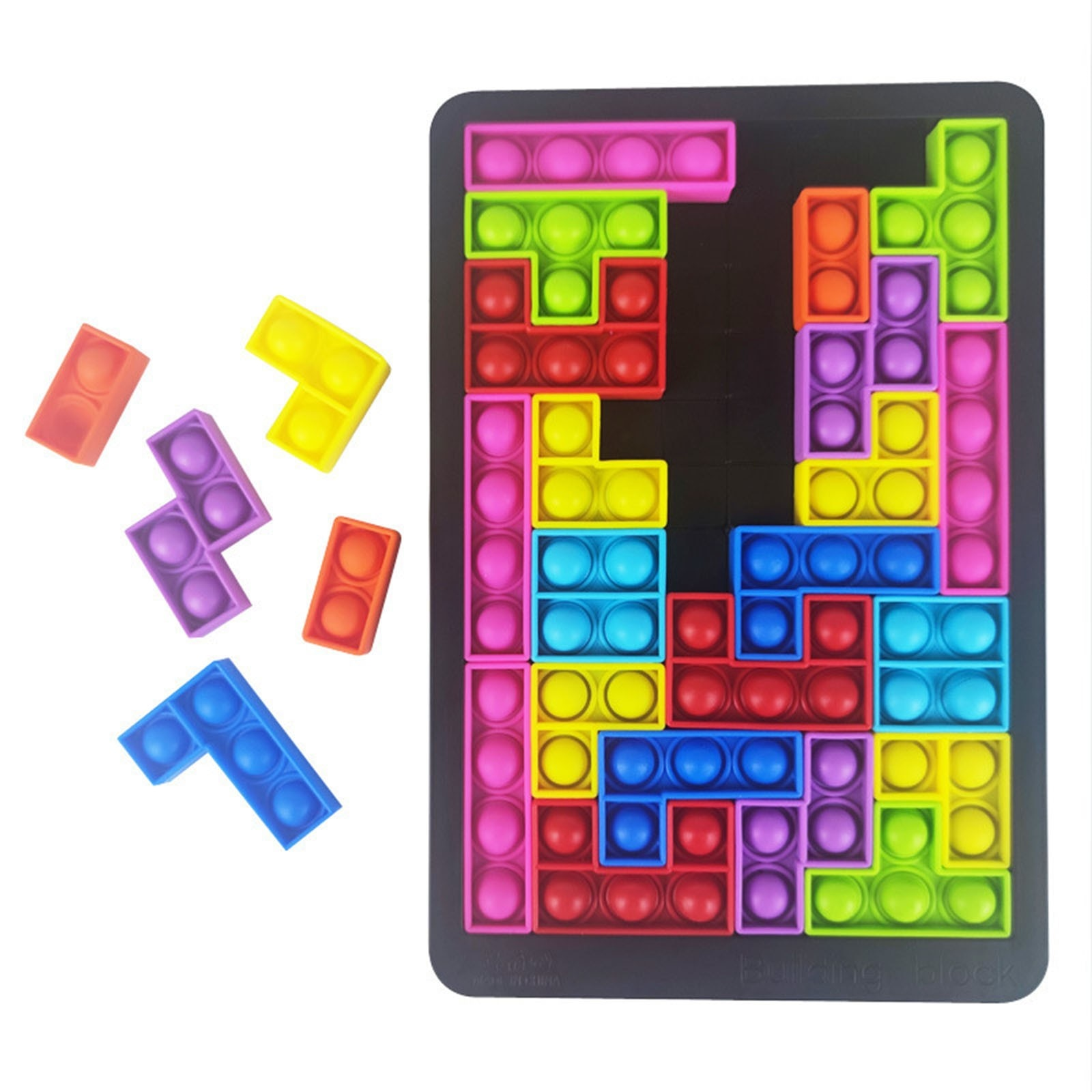 Tetris Poppit Fidget Toy Push Bubble Jigsaw Puzzle Simple Dimple Antistress Toys Silicone Board Games Decompression Christmas