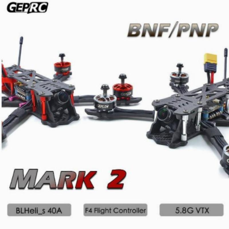 GEPRC GEP Mark2 Mark 2 Estilo libre FPV Kit de marco de fibra de carbono Blheli-s 40A F4 Control de vuelo 5,8G VTX