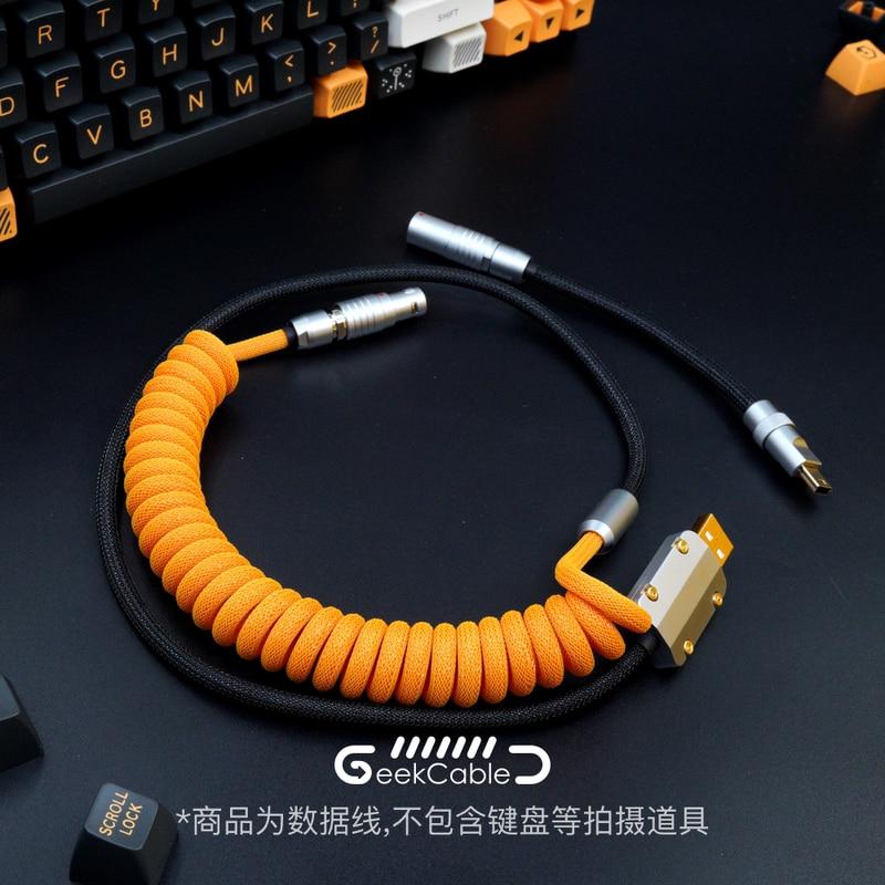 GeekCable-كابل بيانات لوحة المفاتيح الميكانيكية المخصص ، مصنوع يدويًا لموضوع GMK SP Keycap BUGER Line ، العمل في الحرب الافتراضية Colorway