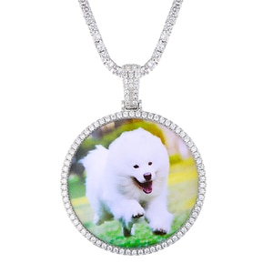 US7 Hot Custom Photo Round Pendant Necklace Personality Men Women Hip Hop Jewelry Tennis Chain Cubic Zircon Gold Silve Gift