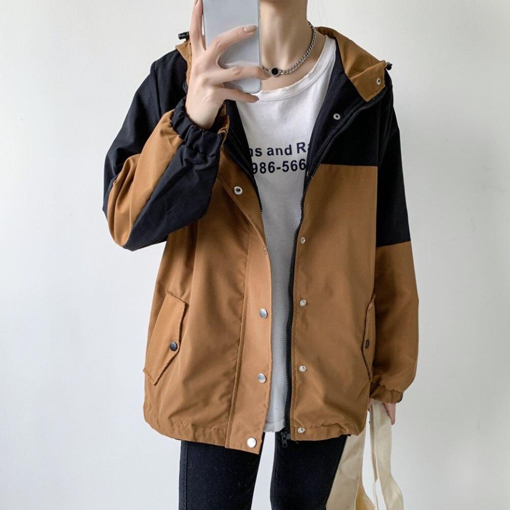 Женская Осенняя куртка 2021, Корейская Свободная куртка в стиле пэчворк, женская тонкая универсальная ветровка с капюшоном в японском стиле, ...