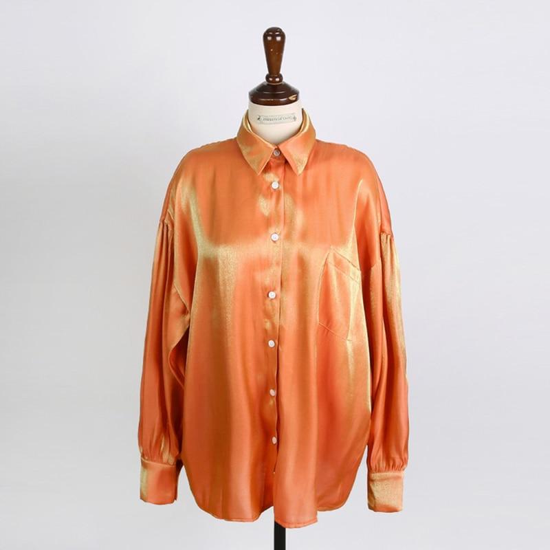 2019 mujeres coreanas sueltas camisas brillantes mujer casual manga larga láser camisas señora de talla grande blusas degradadas tops