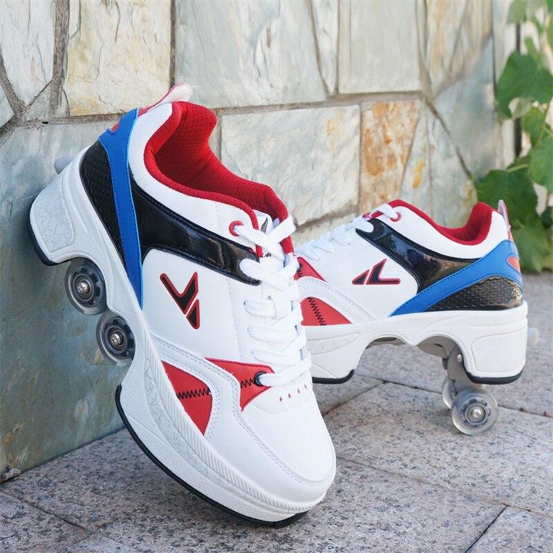 أحذية زلاجات غير رسمية أحذية زلاجات ذات عجلات مشوهة للبالغين من الرجال والنساء أحذية للزوجين زلاجات هارب للأطفال أحذية مشي بأربعة عجلات