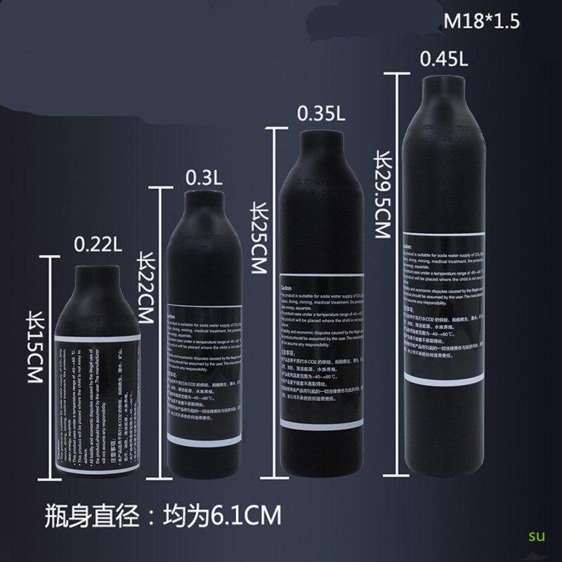 PCP Paintball Airforce HPA Cylinder Air Bottle 0.2L/0.3L/0.35L/0.45L Tank 300bar 4500psi M18*1.5 Thread 6061 aluminum alloy