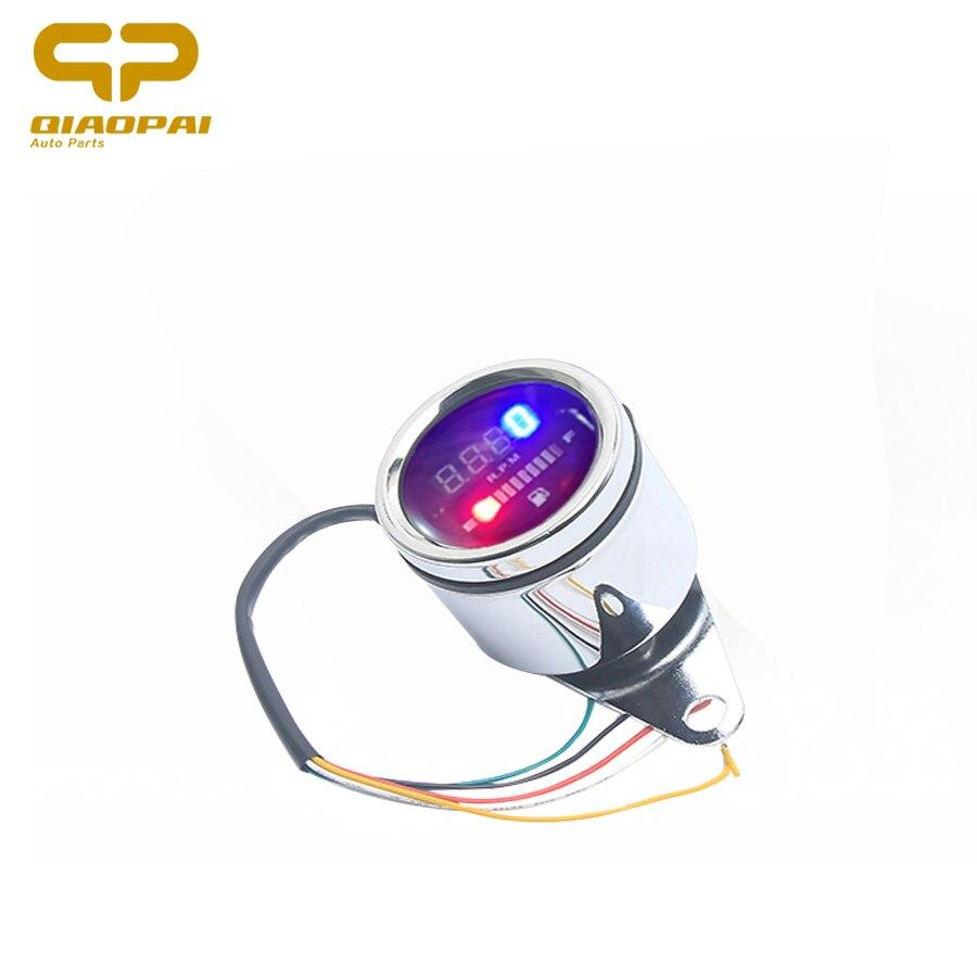 Universal motocicleta modificado digital tacômetro rpm velocímetro com calibre de óleo 12 v led instrumento eletrônico para honda suzuki
