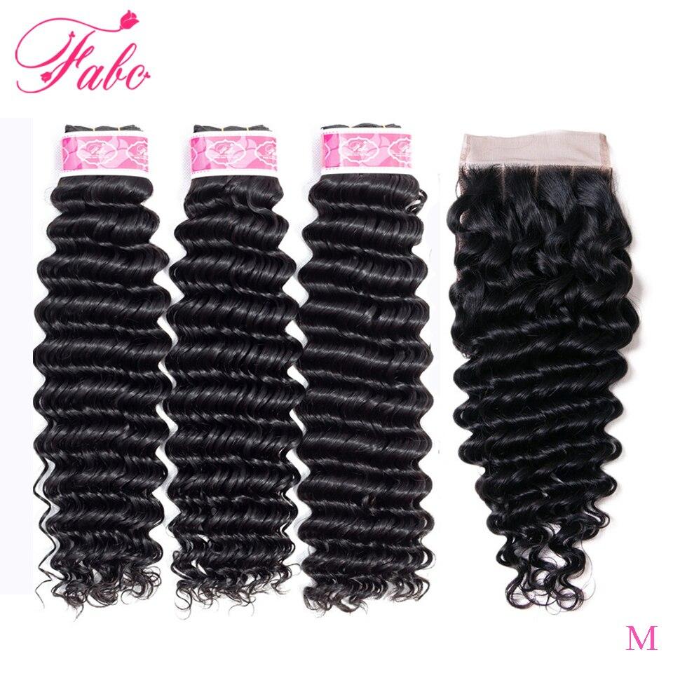 FABC Hair Indian Non-remy Hair Bundles With Closure 4*4 130% Density Deep Wave 3/4 Bundles Human Hair Weaves Natural Black