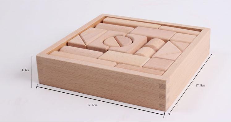 Free shipping 22PCS Baby Beech wood building blocks toys Set, children's educational Blocks kids wooden Models & Building toy