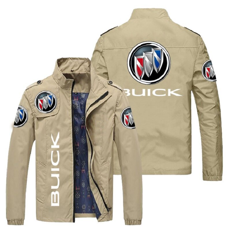 Men's car brand logo printed jacket, spring and autumn with zipper fashion slim jacket, leisure sports motorcycle jacket