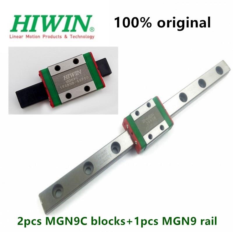 1pc guia Original Hiwin linear MGN9 200 250 300 330 350 400 450 500 550 milímetros ferroviário + 2 MGNR9 pcs MGN9C bloco 3D impressora parte cnc