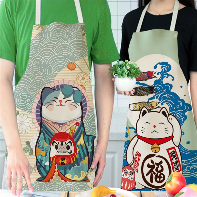 Lucky Cat Apron Kitchen Aprons for Women Cotton Linen Bibs Household Cleaning Pinafore Home Cooking Apron enlarge