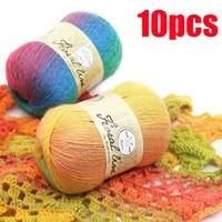 10pcsx100g rainbow line fancy melange yarn cashmere wool yarn knitting high quality wholesale yarn